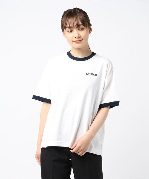 リンガーロゴTシャツ ルーズシルエット/ビッグシルエット ワンポイントブランドロゴプリント