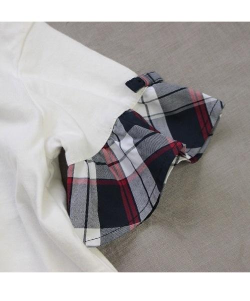 [150-160]天竺チェック袖Tシャツ