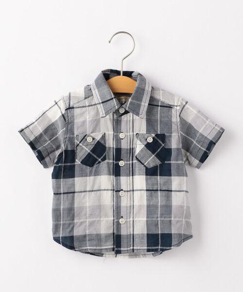 SHIPS KIDS:シャーリング チェック シャツ(80~90cm)