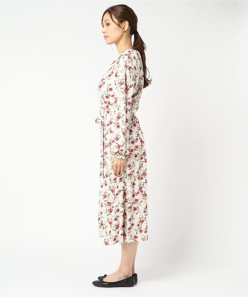 花柄スタンド長袖ワンピース