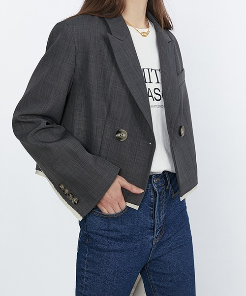【Fano Studios】【2021SS】Double-breasted short tailored jacket cb-3 FC21W037