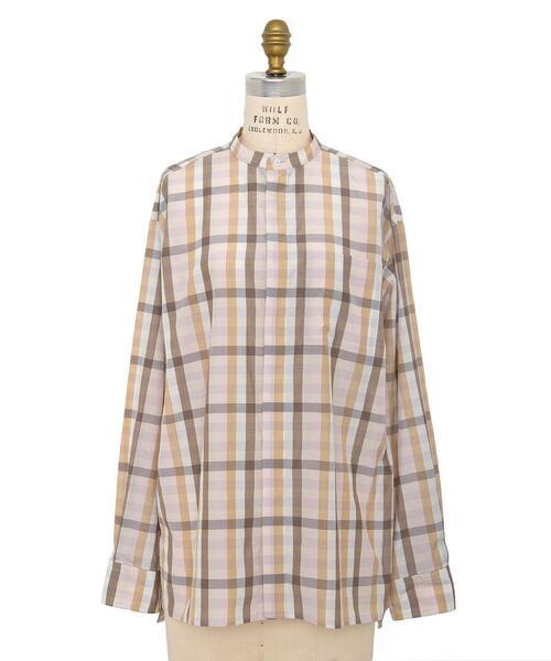 <Drawer(ドゥロワー)> シルクコットンチェック柄スタンドカラーシャツ