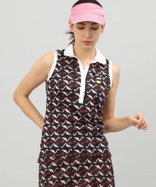 大切な 【セール】【UV】ピクセルフラミンゴプリントノースリーブポロシャツ(ポロシャツ)|JUN&ROPE