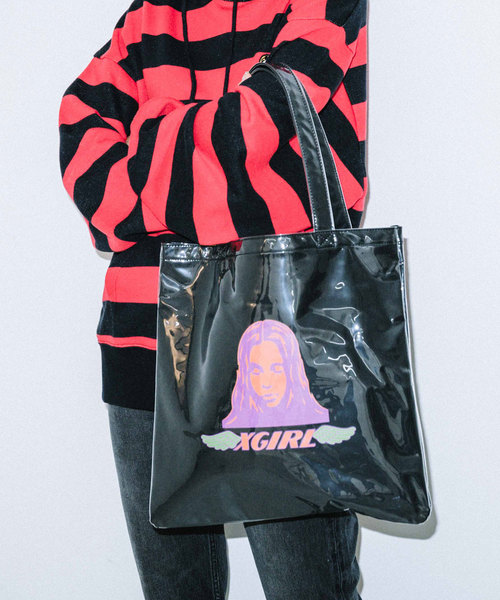 X-girl(エックスガール)の「ANGEL FACE TOTE BAG(トートバッグ)」|ブラック