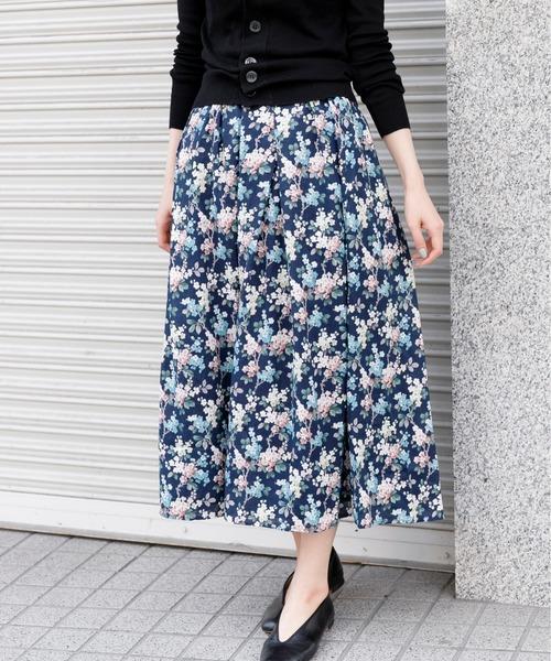 かぐれ(カグレ)の「リバティフランダースリネンスカート(スカート)」|ネイビー