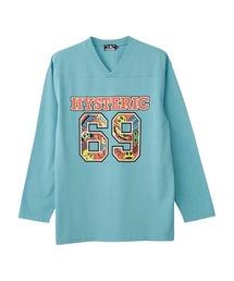 69Vネック オーバーサイズTシャツターコイズブルー