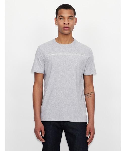 【A|Xアルマーニ エクスチェンジ】チェストラインロゴ 半袖クルーネックTシャツ/SLIM