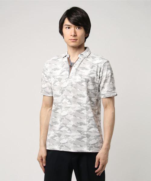 カノコ迷彩柄カモフラプリントスキッパー半袖ポロシャツ