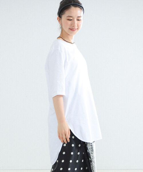 Demi-Luxe BEAMS(デミルクス ビームス)の「【WEB限定】ATON / スビン ラウンドヘム Tシャツ(Tシャツ/カットソー)」 ホワイト