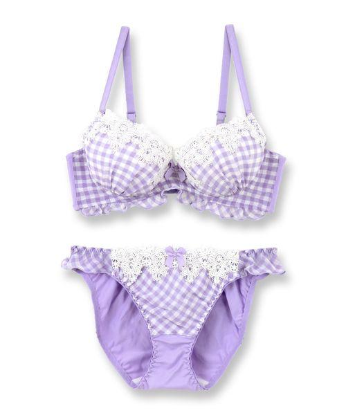 fran de lingerie(フランデランジェリー)の「Ghingham Chiffon ギンガムシフォン ブラ&ショーツセット B65-G75カップ(ブラ&ショーツ)」|パープル