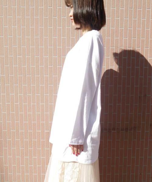 オーバーサイズ無地長袖Tシャツ