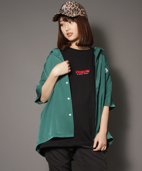 【VISION / ビジョン】マグロゴバックプリント胸ポケット付き半袖開襟シャツ