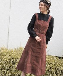 mysty woman(ミスティウーマン)の別珍Aラインジャンパースカート 858166(ジャンパースカート)