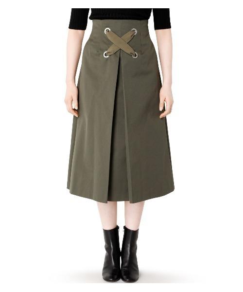 LE CIEL BLEU(ルシェルブルー)の「Big Lace Up Flow Skirt(スカート)」|詳細画像