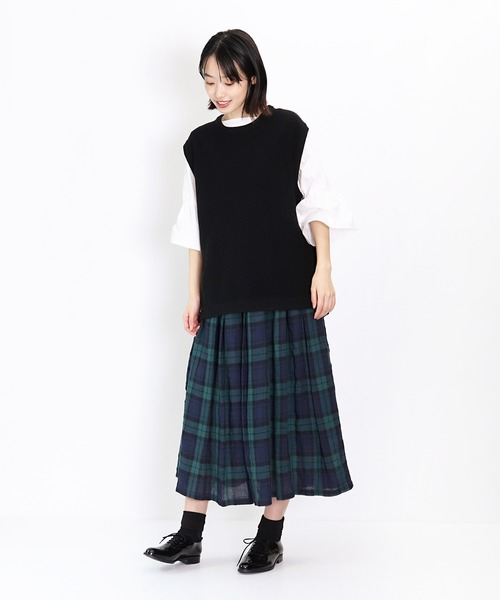 【ubasoku / ウバソク】83丈 裏付タック スカート(リネン) ub-0529-c BNT