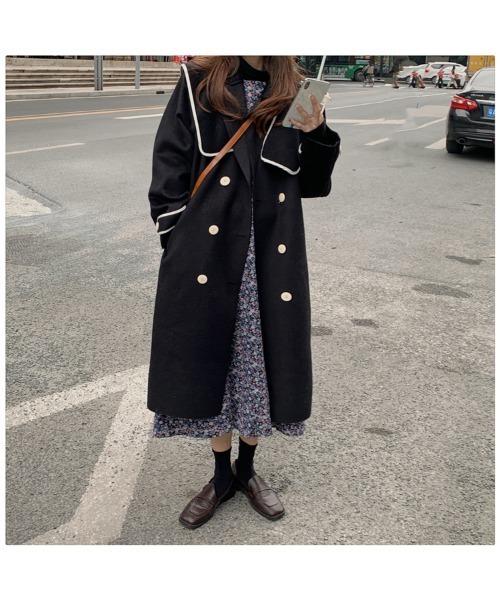 パイピングコート バイカラー チェスターコート ロングコート ダブル 大人 オーバーサイズ ビッグカラー 韓国 中国