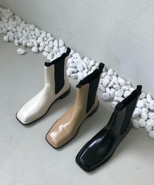 【chuclla】【2021/AW】square-toe side gore boots chs21a022
