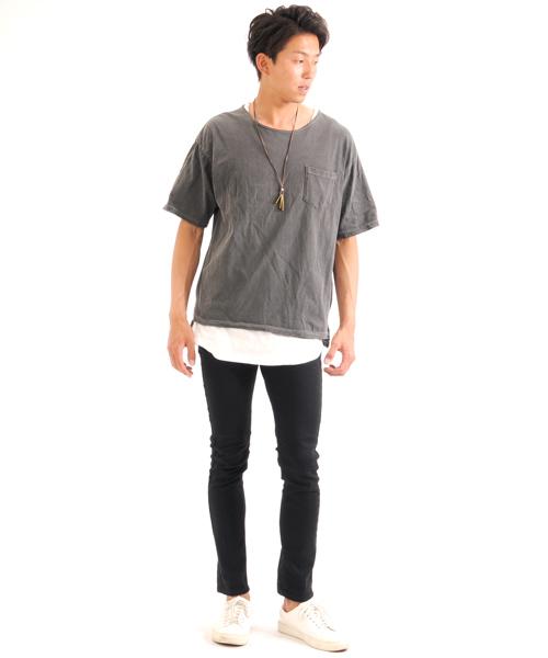 ピグメント加工 ドロップショルダー オーバーサイズ ビッグTシャツ
