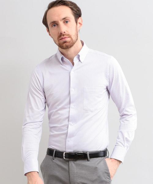 【WORK TRIP OUTFITS】スリム ボタンダウン ロンドンストライプ カットソーシャツ<吸水速乾>