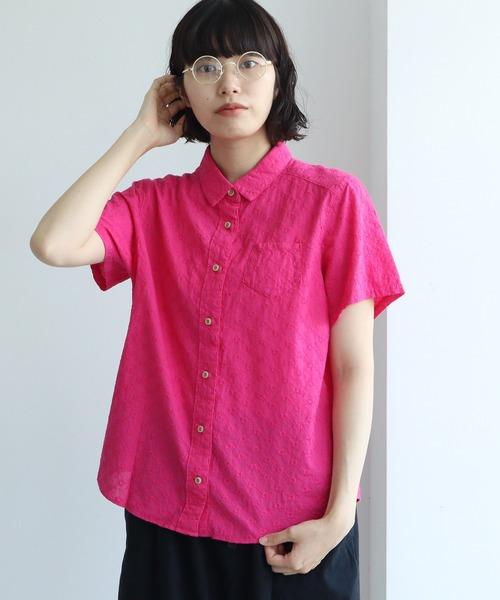 《WEB限定》コットンエンブロイダリー itsumo 半袖レギュラーシャツ