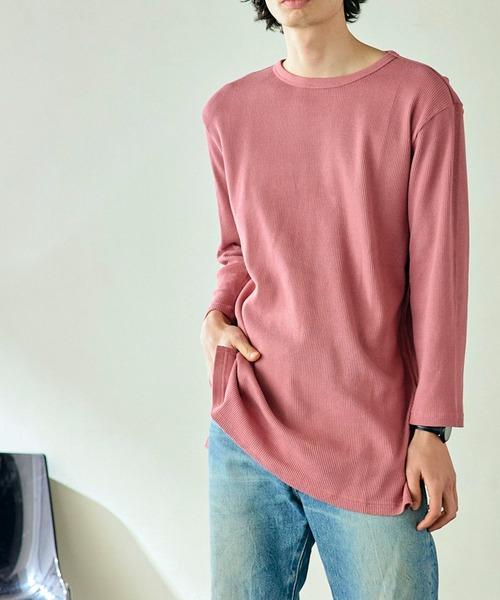 サーマル クルー ヘンリー ロング丈 ワッフル Tシャツ