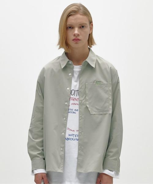『ADD SEOUL』RAW EDGE POCKET SHIRT / ADD ローエッジ ポケット ショート シャツ
