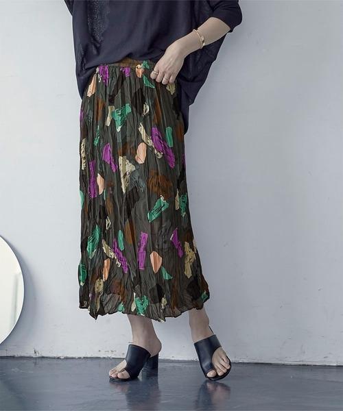miette(ミエット)の「マルチカラープリントプリーツスカート(スカート)」 ブラック
