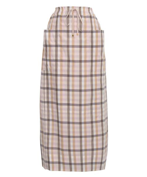 <Drawer(ドゥロワー)> コットンシルクチェックポケットスカート