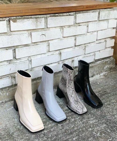 【chuclla】【2021/AW】Square silhouette short boots chs21a023