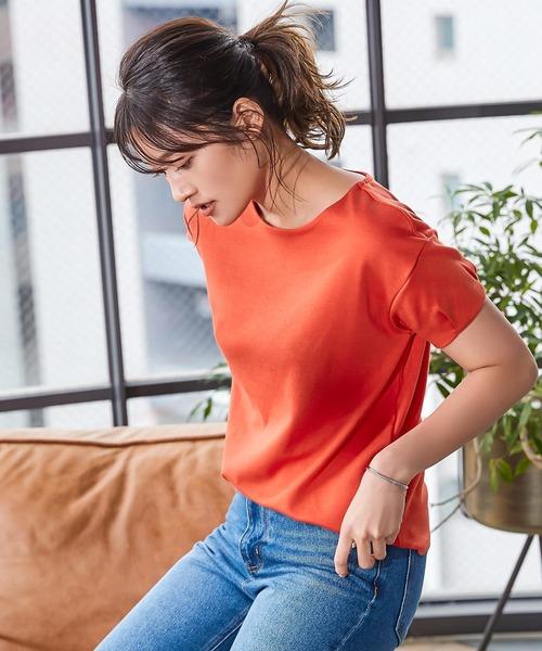 KOBE LETTUCE(コウベレタス)の「前身二重袖タックカットソートップス(Tシャツ/カットソー)」|オレンジ