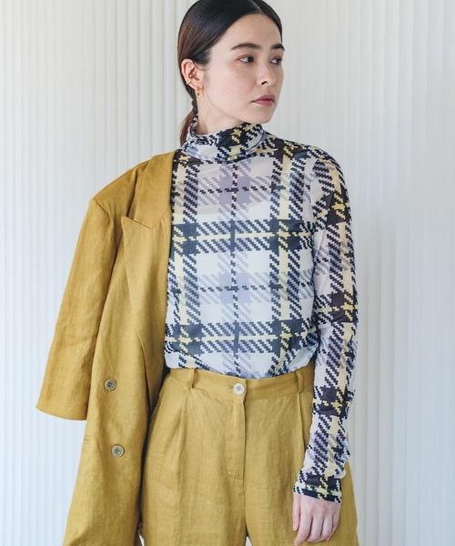 【chuclla】【2021/AW】High neck plaid slim T shirt chw21a033