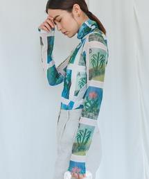 【chuclla】【2021/AW】High neck plaid slim T shirt chw21a033グリーン