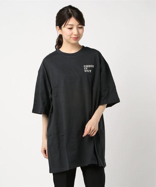 胸ラメロゴチュニック/Tシャツ