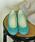 MODE KAORI(モードカオリ)の「撥水リボンバレエシューズ(パンプス)」|ブルーグリーン