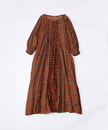 45R(フォーティファイブアール)のヒッコリー風呂敷のプリントドレス(ワンピース)