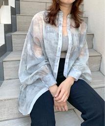WHO'S WHO gallery(フーズフーギャラリー)のシースルームラ染めスタンドカラーシャツ(シャツ/ブラウス)