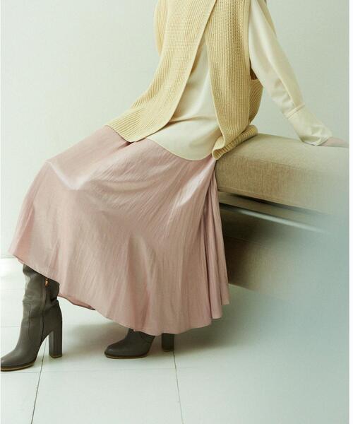 【EMMEL REFINES】【手洗可能】EM HW チンツ ギャザーフレア ロングスカート