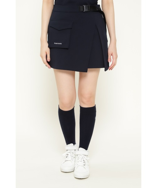 PEARLY GATES(パーリーゲイツ)の「【PEARLY GATES】TEXBRID ダンボール ラップ風 スカート <ESSENTIAL>(スカート)」|ネイビー