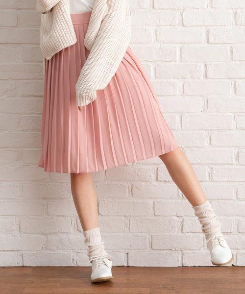 夢展望(ユメテンボウ)の「ミディ丈&マキシ丈プリーツスカート(スカート)」|ピンク系その他