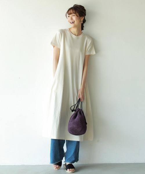 【【『リンネル』7月号掲載・汗染み防止】ロングフレアワンピース