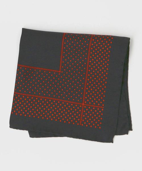 LUIGI&SONS シルク ドット ポケットチーフ