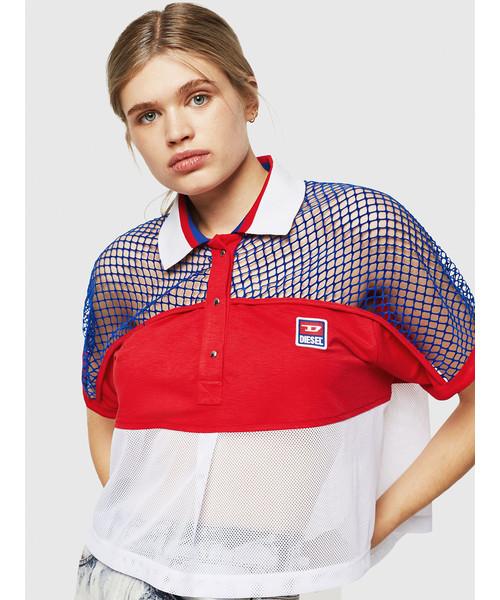 安い レディース トップス ミックスマテリアル半袖 ポロシャツ(Tシャツ トップス/カットソー) DIESEL(ディーゼル)のファッション通販, NURObySo-net:e547efcf --- pyme.pe