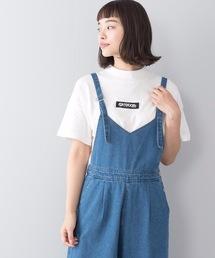 モックネックフロントテープロゴTシャツホワイト