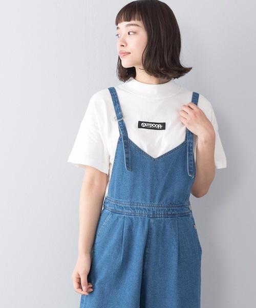 モックネックフロントテープロゴTシャツ