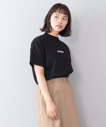 モックネックフロントテープロゴTシャツブラック