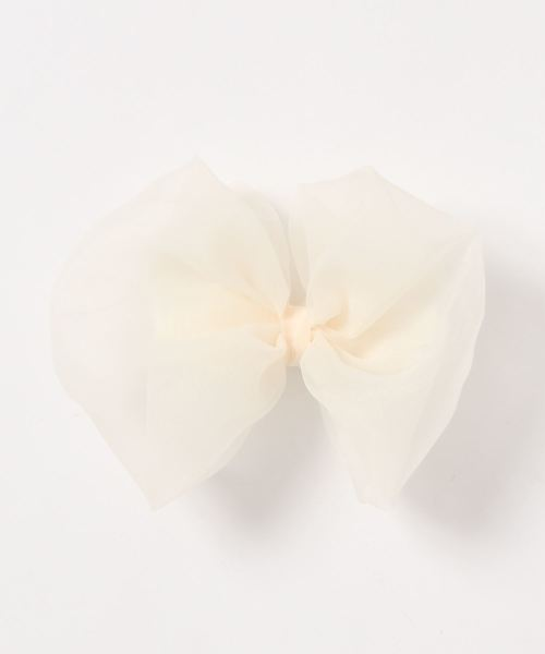 LILICIOUS(リリシャス)の「オーガンジーリボンバレッタS(バレッタ/ヘアクリップ)」|ホワイト