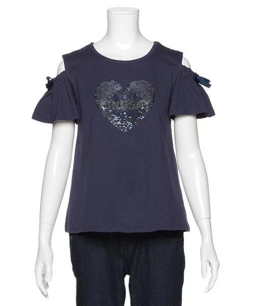 Wスパンコール半袖Tシャツ