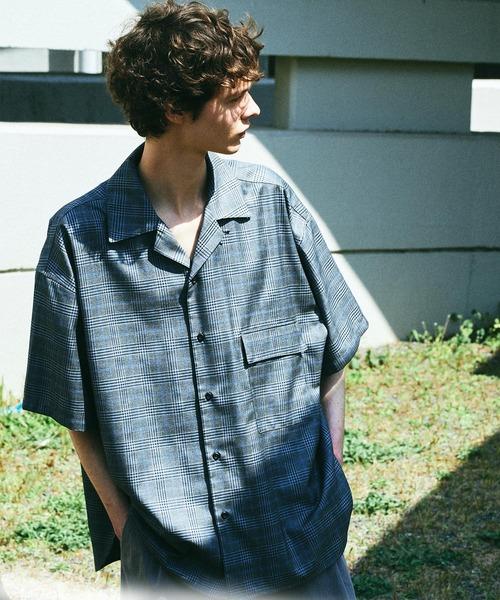 オーバーサイズ ストライプ/チェック柄 オープンカラーシャツ 半袖【ファッションインフルエンサーとっしー×EMMA CLOTHES 限定コラボ】