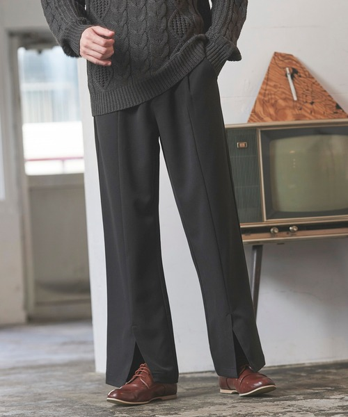 TRタックセンタースリットフレアスラックス/ブーツカット フレアパンツ シューカットパンツ