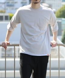 肉厚でヘタらないヘビロテ確実Tシャツ ボックスシルエット ユニセックスサイジング ポケット付き ヘビーウェイト5分袖Tシャツカットソーアイボリー